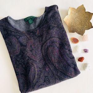 🖤 LRL Silk Cashmere Purple Paisley Sweater Top